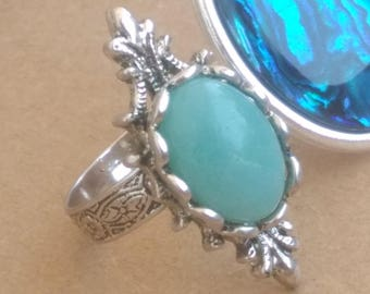 Elven amazonite gemstone ring