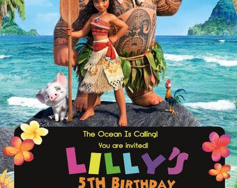 MOANA Party Invitations A5 Personalised Disney Princess Ocean Girl Any Amount