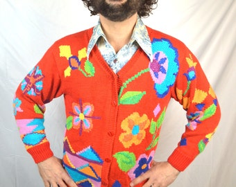 Amazing 80s Vintage Floral Knit Button Up Cardigan Sweater -  by Berek