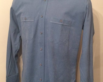 Vintage MENS 70s Persuade blue ultra suede long sleeve shirt, size L, dead stock