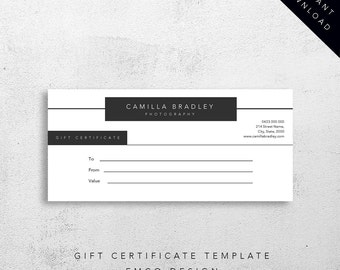 Bradley Gift Certificate Template | Instant download | Editable MS Word Template