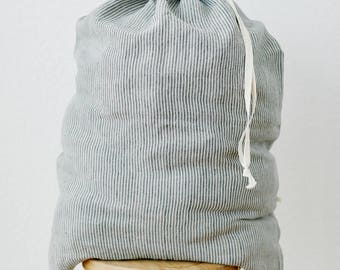 Linen Drawstring Laundry Bag