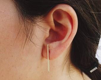 Bar Stick Stud Earring Sterling Silver, dash bar studs earrings,Double Post Stick Earring, long bar stud earring, Stick Studs, Minimalistic