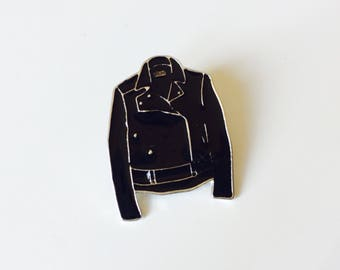 Leather Jacket | Biker | Attitude | Pin | Badge | Retro | Hipster | Upcycle | Accesory | Modify