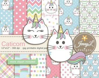 50% OFF Caticorn Digital Papers, Cat Clipart, Unicorn Cat, KittyCorn, Catacorn Digital Papers for digital scrapbooking birthday, stickers, p