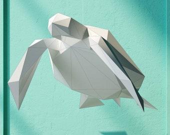 Pendant Sea Turtle, 3d papercraft models, DIY Paper Sculpture, Animal Templates, Papercraft Sculpture, Trophy template, make your own trophy