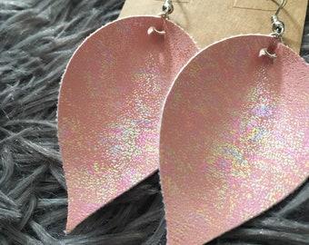 Pearl pink leaf earrings