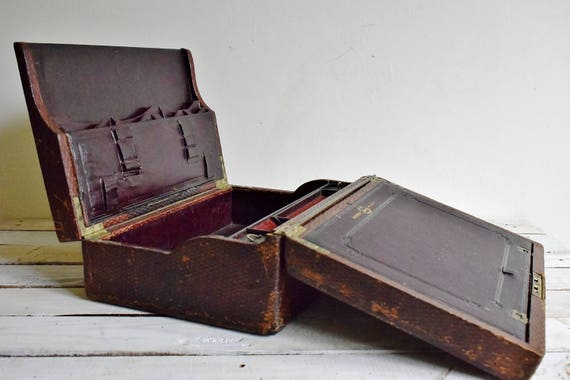 - Antique Lap Desk Victorian Military Campaign Writing Box In