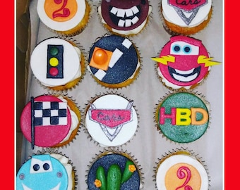 Cars themed cupcake toppers, birthday, edible