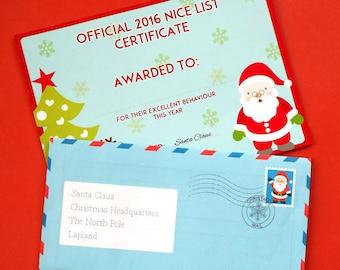 Santa Letter, Letter to Santa, Letter from Santa, Christmas Letter Kit, Santa's Nice List, Nice List Certificate, Father Christmas Letter