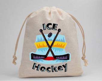 Hockey, Ice Hockey, Hockey Sticks, Birthday Party, Birthday, Party Bags, Muslin Bags, Treat Bags, Favor Bags, Goodie Bags