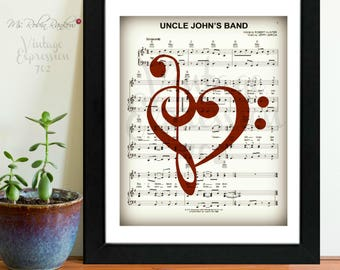 Grateful Dead, Uncle John's Band, on Music Sheet, Print