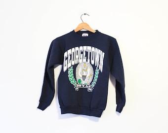 Vintage Kids Blue Hoyas Georgetown University Sweatshirt