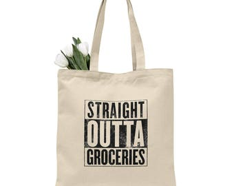 Straight outta groceries tote bag, grocery bag, cotton canvas tote, reusable grocery bag, reusable bag