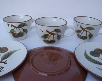 Stangl Orchard Song Cups and Bread Plates