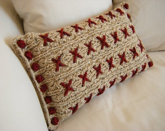 Cranberry Kisses Cushion Pillow Cover Knitting Pattern