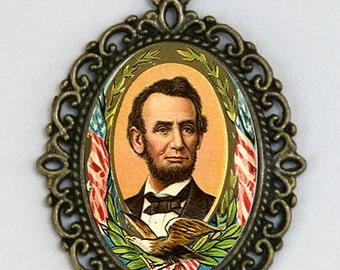 ABRAHAM LINCOLN Necklace honest abe President history diy USA