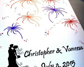 Wedding fingerprint guest book alternative, Choice of bride and groom silhouette, guests make fireworks with their fingerprints then sign