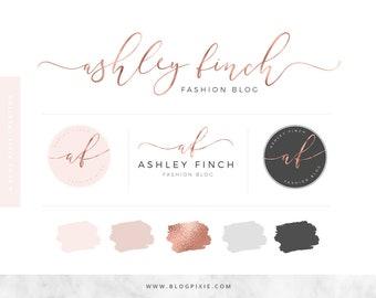 Logo Design - Branding Package - Rose Gold - Blush - Blog Header - Premade Logos - Watermark - Fashion Blogger