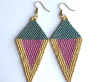 Beaded earrings statement jewelry unique handmade geometric shape