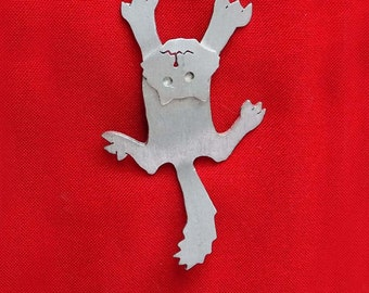 Cat pin, brooch,wacky cat, silver color metal, kitten, accessory, holloween