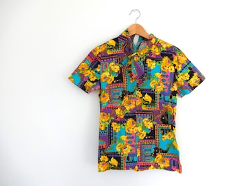 Vintage PSYCHEDELIC Top • 1960s Clothing •Neon Floral Bright Geometric Print Black Short Sleeve T Shirt Blouse •Women Size Small Medium