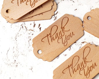 Wedding favor tags, thank you tags, rustic wedding thank you tags, engraved tags for DIY wedding favors