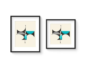 CUBIST no.2 - Giclee Print - 8x10 or 8x8 Format - Mid Century Modern Cubist Modernist Abstract