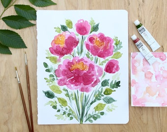 Peachy Peonies Original