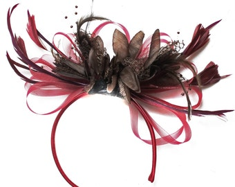 Burgundy Wine Red & Coffee Brown Fascinator on Headband