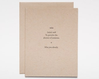 Miss you already - card for her - card for him - best friend thinking of you - moving card - bon voyage letterpress cards Of Note Stationers