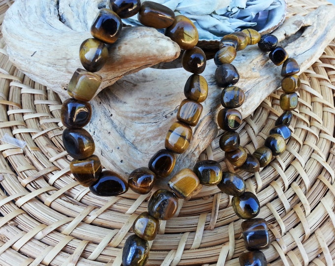 Tumbled Tiger Eye (Golden, Yellow) stretchy bracelet ~ One Reiki infused gemstone bead bracelet approx 8 inches