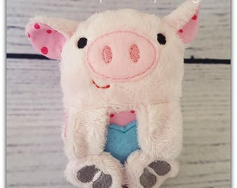 Intro price * Flopsy Pig - ITH Pig Softie - Embroidery Design - 4x4 5x7 6x10 7x10 8x12 instant download