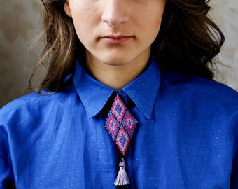 Bolo tie bolo tie for men necklace bolo findings tip  geometric rhombus pink blue purple floss tassel coral western Gift for her for him