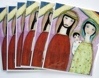 Nativity II  - Christmas Cards - Pack of 6 - Folk Art By FLOR LARIOS