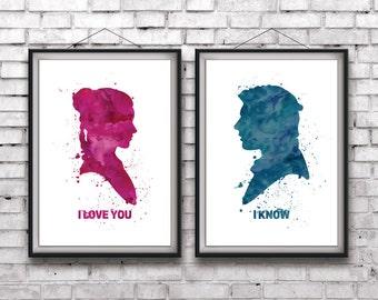 "Star Wars Han and Leia ""I Love You"" ""I Know"" downloadable digital art print bundle"