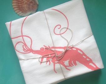 Shrimp Deluxe Cotton Flour Sack Towels, set of two