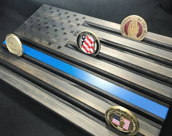 State Trooper Display - Police Coin Display - Wood Flag Thin Blue Line - Black Blue Line Coin Rack - Customizable - Personalized
