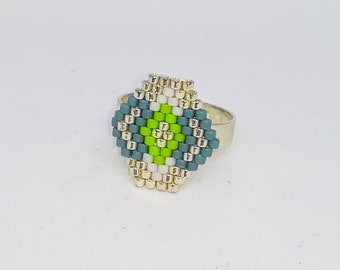 Adjustable ring, weaving needle, Japanese beads, silver, green, blue, gray, silver brass