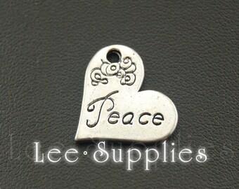 "10pcs Antique Silver Alloy Engraved ""Peace"" Heart Charms Pendant A1061"