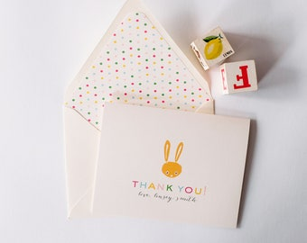 personalized baby shower thank you cards (sets of 10) // baby shower thanks cards / gender neutral cards / baby boy baby girl yellow bunny