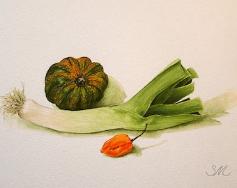 Leek Squash Habanero Still Life | Kitchen Art | Small Art