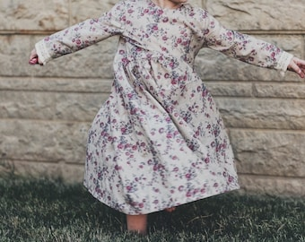 Grace dress: Handmade long sleeve floral baby and toddler dress