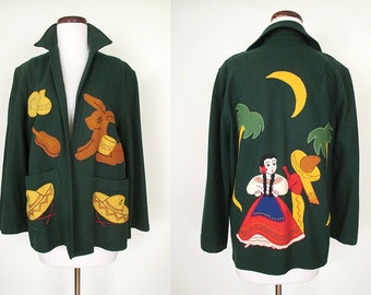 Too Cute for Words 1950's Mexican Tourist Jacket with Adorable Appliques Rockabilly VLV Pinup Mexicana Jacket Size-medium