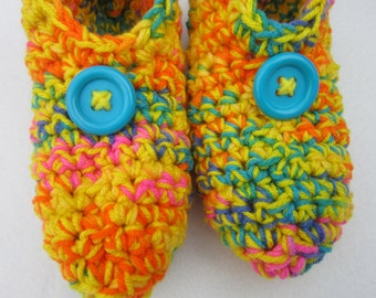 Crochet Slippers in Yellow and Bright Multicolor Size Small, Crocheted House Shoes, Yellow Slippers, Gift for Grandma, Gifts Under 25