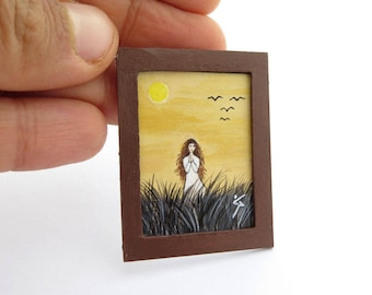 Framed Miniature Painting, Original Miniature Painting for Dollhouse or Collection, Tiny Collectable Art, Prayer Woman