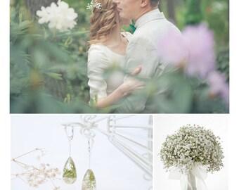 Rustic bride earrings - Rustic bride jewelry - Rustic wedding jewelry - Real flower earrings - Floral earrings - Botanical resin jewelry
