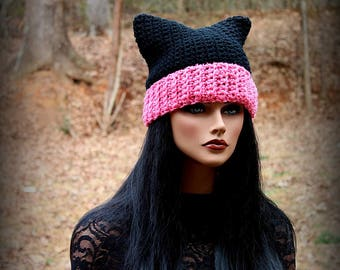 Pink Black Hat, Black Cat Hat, Black Beanie, Womens Cat Hat, Cat Ears Hat, Cat Hat, Black Hat, Chunky Hat, Cat Ears Beanie, Cat Beanie, Cat