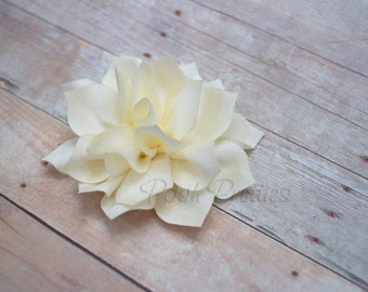 NEW Ivory Mini Flower Hair Clip- Lotus Blossom - With or Without Rhinestone Center