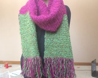 Pink and Green Fringe Scarf